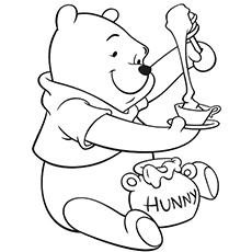 Der Bär isst Honig