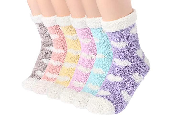 Plüsch Slipper Socken Frauen - Bunt
