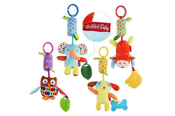 Haha Baby Soft Hanging Crinkle Quietschendes sensorisches Lernspielzeug