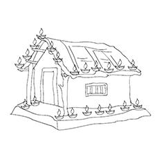 Diwali Malvorlagen - Wunderschön dekoriertes Haus