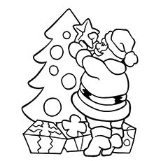 Santa Färbung Arbeitsblatt, das Weihnachtsbaum verziert