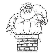 Der Weihnachtsmann ist im Schornstein-Farbbild gefangen