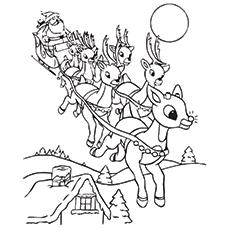 Weihnachtsmanns Arbeitsblatt mit Rudolf für Kinder zum Ausmalen
