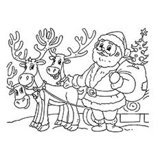 Weihnachtsmann mit seinen Rentierfreunden Bild für Kinder zum Ausmalen