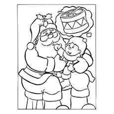 Santa mit einem Bild des Kindes zum Ausmalen