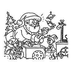 Weihnachtsmann Elfen arbeiten Malvorlagen