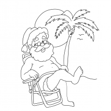 Gruseliger Weihnachtsmann am Strand