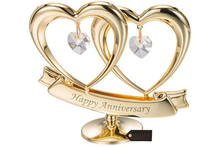 Matashi 24 Karat vergoldet Schöne Happy Anniversary Doppelherz Tischplatte