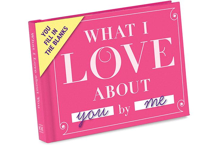 Knock Knock Was ich an dir liebe Füllen Sie das Liebesbuch aus Füllen Sie das leere Geschenkjournal aus