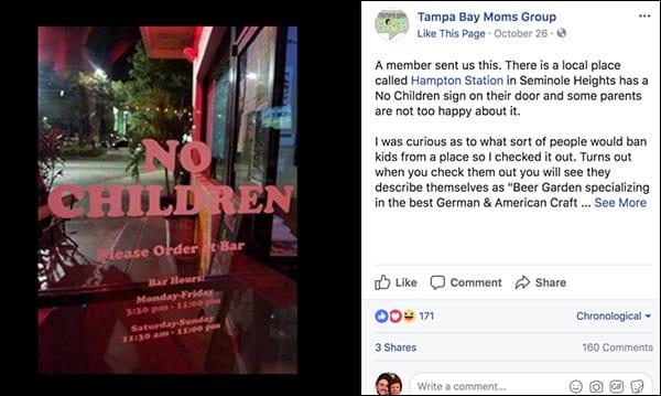 Pizza Shop verbietet alle Kinder aus Haftungs- und Sicherheitsgründen